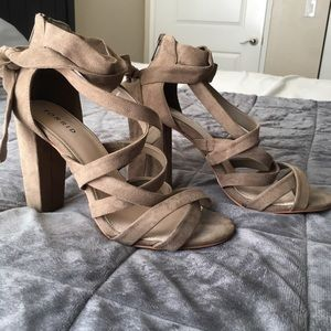 Torrid tan strappy lace up heels